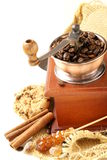 Still life of wooden coffee grinder Stock Photos