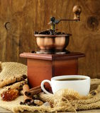 Still life of wooden coffee grinder Royalty Free Stock Images