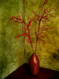 Still life wooden vase with red berries. Green textured painted wall Stock Image