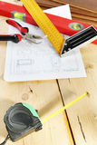 Still life with working tools on the workbench Royalty Free Stock Photography