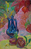 Still life written in oil. Blue jug and red peppers Royalty Free Stock Photography