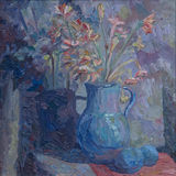 Still life written in oil. A bouquet of spring flowers in a blue vase Stock Images