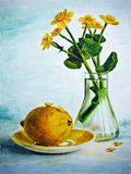 Still life with yellow flowers and lemon Royalty Free Stock Image