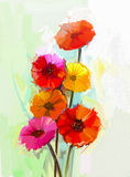Still life of yellow and red gerbera flowers oil painting Royalty Free Stock Photography