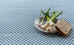 Still life with young garlic on vintage plate  with one peace of white bread, closeup royalty free stock photo