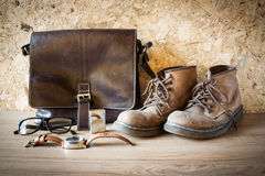 Still lift with leather bag , boot , glasses , watch and Lighter Stock Photography