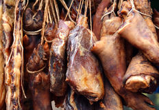 Still meat and sausage. Traditional romanian tasty meat products Royalty Free Stock Photography