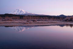 Still Morning Sunrise Trout Lake Adams Mountain Gifford Pinchot Stock Photo