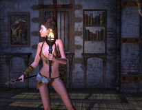 Still of the Night. 3D rendering of a female warrior Royalty Free Stock Photos