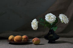 Still Peaches And Roses Stock Photo