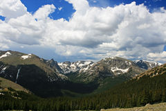 Still-snowy Maroon Bells at Rocky Mountains Royalty Free Stock Images