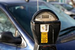 Still time left. A parking meter displaying time left Royalty Free Stock Photography