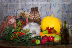 Still to day of thanksgiving with autumn vegetables, fruit, pump Stock Photo