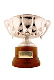 Still trophy success cup. Still life isolated trophy cup with copy space for edit isolated with clipping paths in withe background stock photo