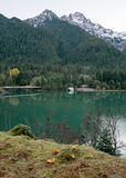 The still water of an early morning on Diablo Lake royalty free stock photo