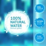 Still water label set. Still, fresh, natural water label set. Eco design aqua sticker. Contemporary drawing sketch labels Stock Image