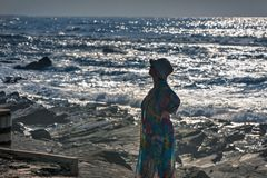 Stilla havet kvinna på kusten, Durban Arkivbilder
