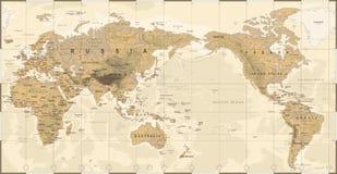 Stillahavs- för världskarta för tappning politiskt centrerat fysiskt Topographic stock illustrationer