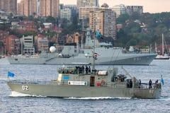 Stillahavs- FSS MIKRONESIEN FSM02 f?r fartyg f?r forumgrupppatrull fr?n den Micronesian regeringen i Sydney Harbor royaltyfri bild
