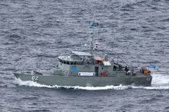 Stillahavs- FSS Mikronesien FSM02 f?r fartyg f?r forumgrupppatrull fr?n den Micronesian regeringseglingen ut ur Sydney Harbor arkivfoto