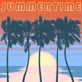 Stillahavs- Palm Beach affisch Apelsinen gör randig himmel Arkivbilder