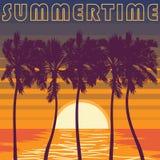 Stillahavs- Palm Beach affisch Himmel för blåa band stock illustrationer