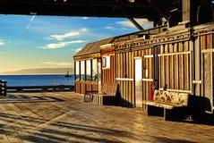 Stillahavs- Pier Building Royaltyfri Bild