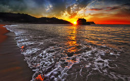 Stillahavs- södra soluppgång arkivfoto