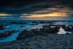 Stillahavskustensolnedgång Arkivfoton
