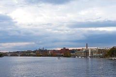 Stille de herfstzonsondergang over Potomac Rivier dichtbij de waterkant van Georgetown, Washington DC, de V.S. Royalty-vrije Stock Afbeelding