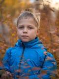 Stille jongen in de herfstpark stock fotografie