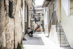 Stille mens Steenstad zanzibar tanzania afrika stock foto