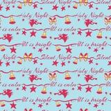 Stille nacht heilige nacht die vector naadloos patroon met engelen van letters voorzien die op trompet en Kerstmisklokken spelen  royalty-vrije illustratie