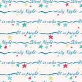 Stille Nachtheilige Nacht, die nahtloses Muster des Vektors mit bunten Sternen beschriftet Oberflächenmusterentwurf für Weihnac vektor abbildung