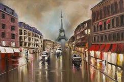 Stille regenachtige straat Stock Foto's