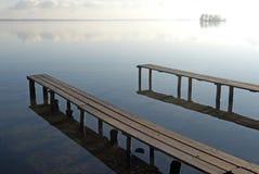 Stille scène bij het Schwerin meer, Stock Afbeeldingen