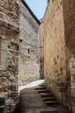Stille Straßen in der alten Stadt von Jerusalem, Israel Das St. Francis Street - über Delorosa Lizenzfreie Stockfotografie