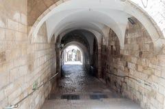 Stille Straßen in der alten Stadt von Jerusalem, Israel Das St. Francis Street - über Delorosa Lizenzfreies Stockbild