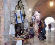 Stille Straßen in der alten Stadt von Jerusalem, Israel Markt in der Straße EL-Pack-ha Gai Lizenzfreies Stockfoto