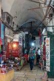 Stille Straßen in der alten Stadt von Jerusalem, Israel Markt in der Straße EL-Pack-ha Gai Lizenzfreie Stockbilder