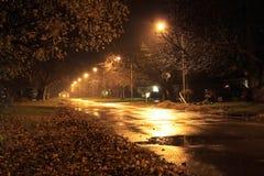 Stille straat bij nacht Stock Afbeelding