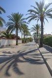 Stille zonnige straat met oceaanmening in Cabo Roig, Spanje Royalty-vrije Stock Fotografie