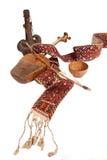 Stilleben av ämnena av den nationella kulturen för Kazakh, torsyk, kobyz, bunke Royaltyfri Foto