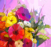 Stilleben av blommor för gul och röd färg Olje- målning en bouqu
