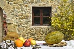 Stilleben av frukt och det lantliga huset Arkivbild