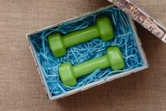 Stilleben av gåvan och kondition, två gröna hantlar i gåvaask på bakgrund av att plundra Royaltyfri Foto
