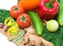 Nära övre för mogna nya grönsaker royaltyfri fotografi