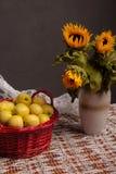 Stilleben av solrosor och äpplen Fotografering för Bildbyråer
