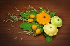 Stilleben en sammansättning av patissons tomater, öron av havre och gräsplaner arkivbilder