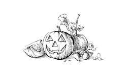 Stilleben för Halloween symbolpumpa Arkivfoto
